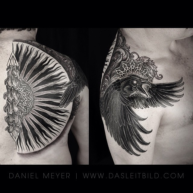 Raven Spine tattoo on Shoulder