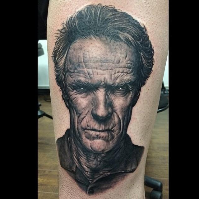 Realistic Clint Eastwood tattoo