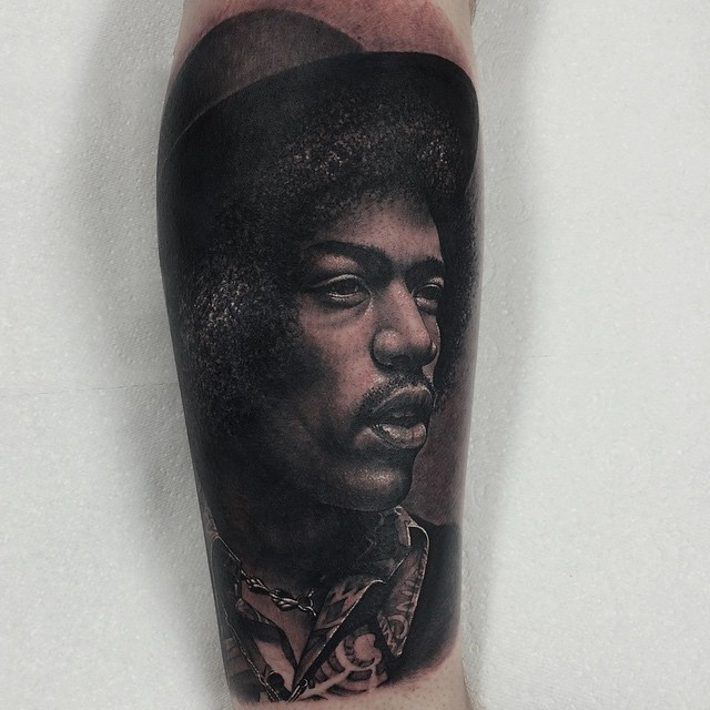 Realistic Portrait Jimmy Page tattoo