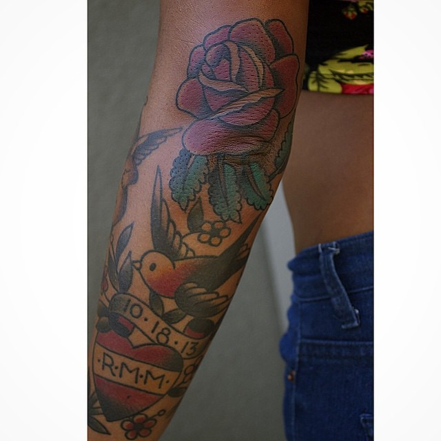 Rose and Swallow Elbow tattoo