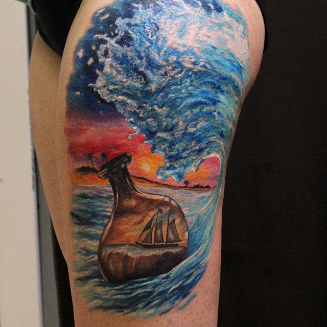 Ship in Flask Watercolor tattoo