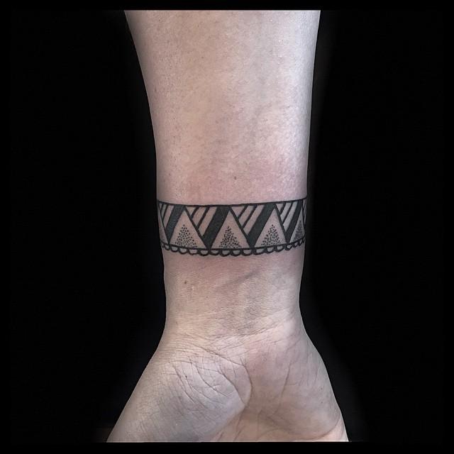 Small Dotwork Tracery Wrist tattoo