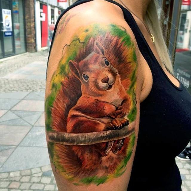 Smiling Shoulder Squirrel tattoo