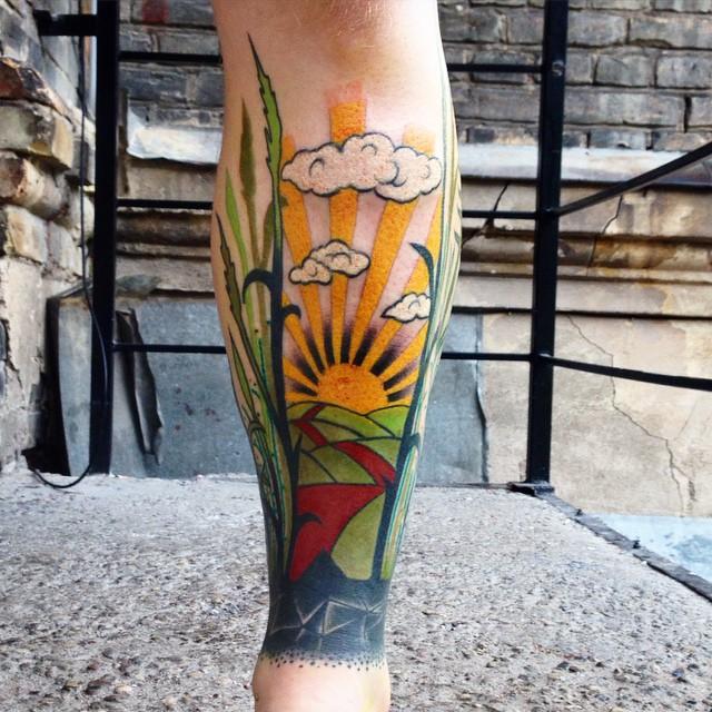 Sunny Fields Leg tattoo