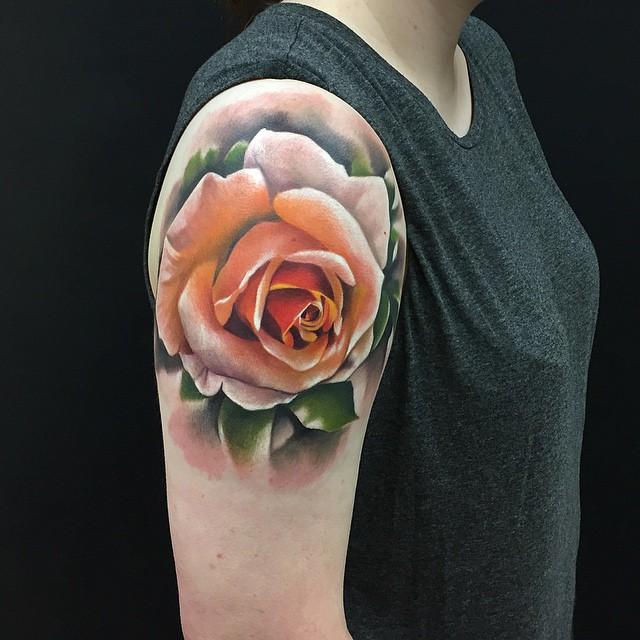 Tender Shoulder Rose tattoo