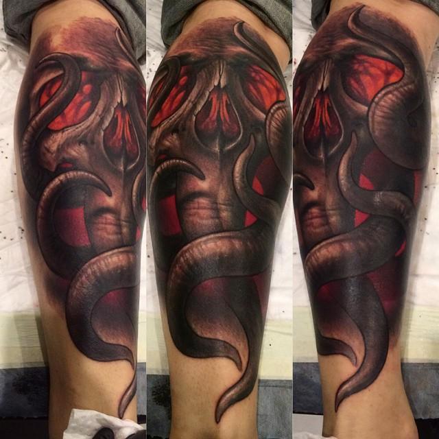 Tentaskull Leg tattoo