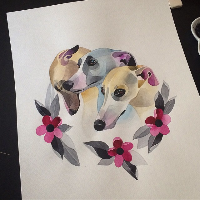 Three Cute Greyhound Dogs Tattoo idea