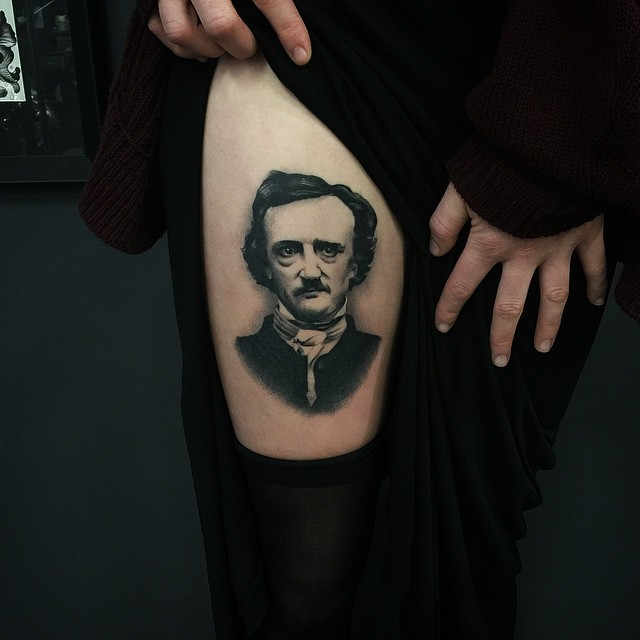 True Goth Edgar Poe Thigh tattoo