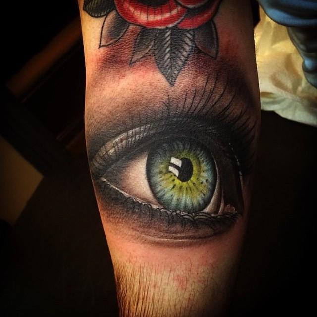 Unreal Realistic Eye tattoo on Leg