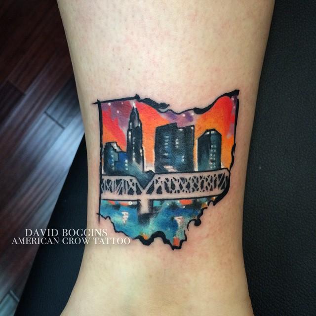 Watercolor Ohio Columbus tattoo