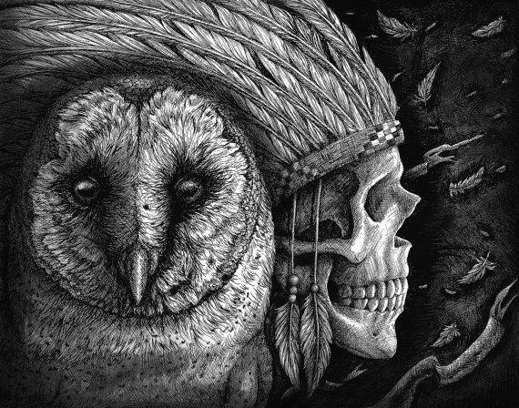 indian owl tattoo