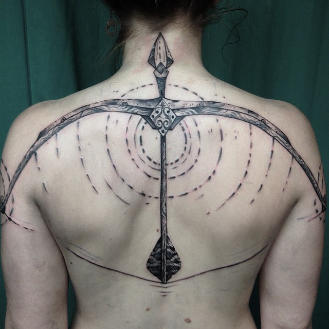 Back Armed Bow Tattoo