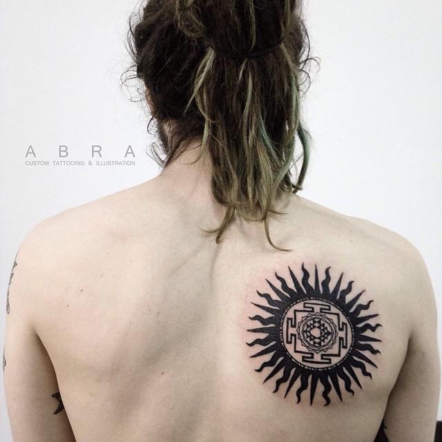 Black Aztec Sun Tattoo
