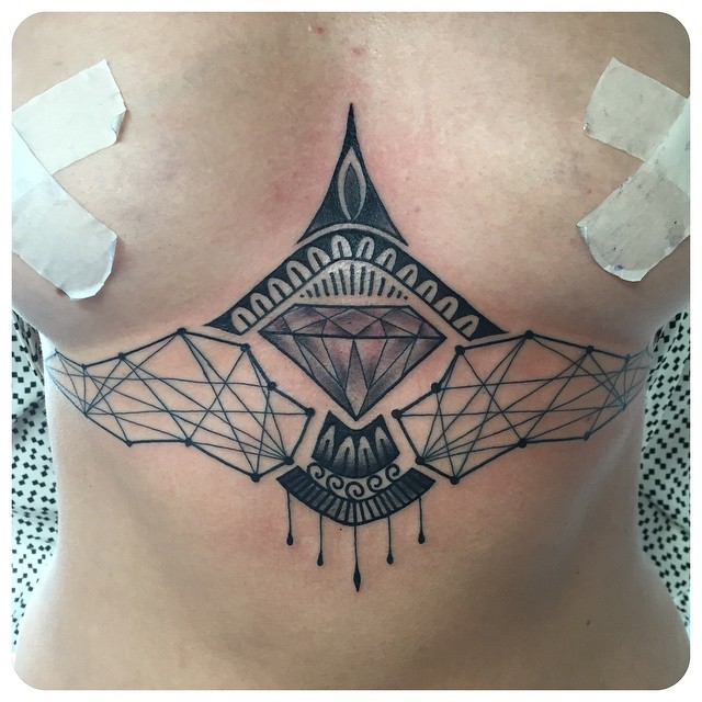 Blackwork Dimond Geometry Tattoo
