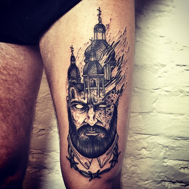 Burning Church in Head Tattoo on Thigh