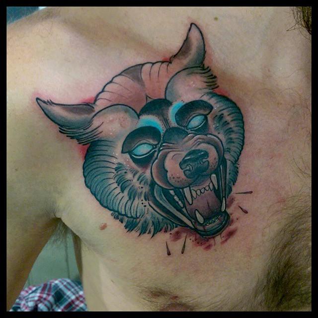 Collar Bone Rocker Wolf Tattoo