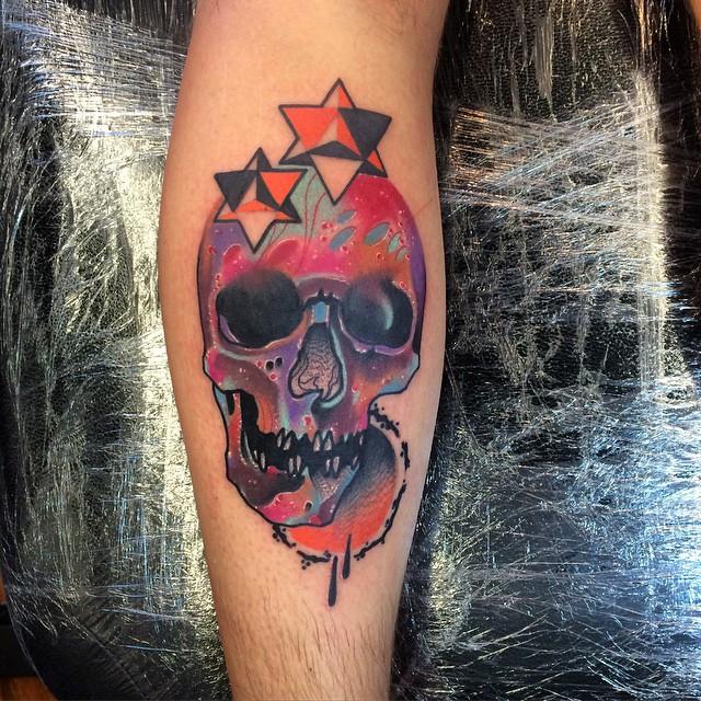Colorful Stars Skull Tattoo