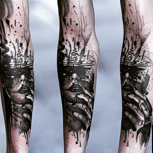 Cool Black Watercolor Girl tattoo