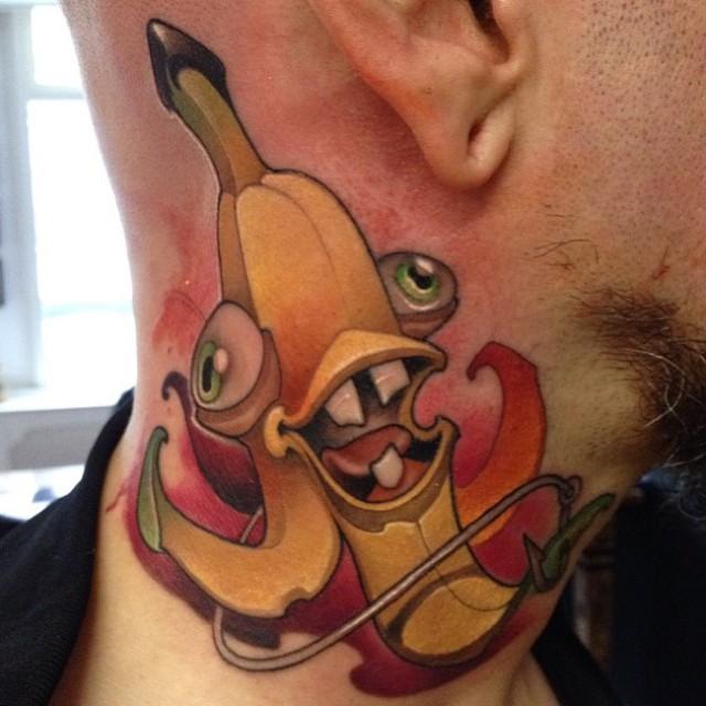 Crazy Banana Tattoo on Neck