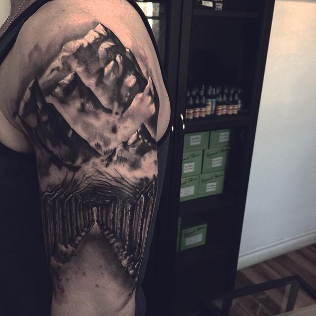 Dark Mountain Road Tattoo on Shoulder