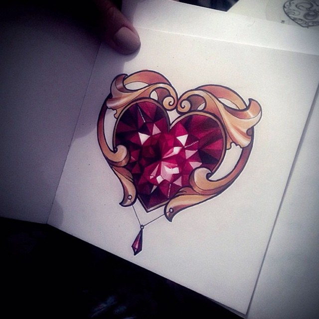 Diamond Heart Tattoo