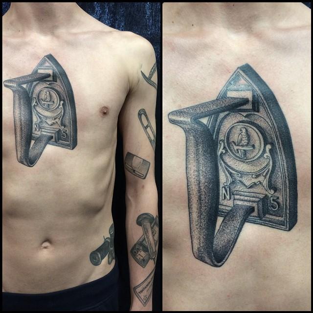 Dotwork Door Handle Tattoo on Chest