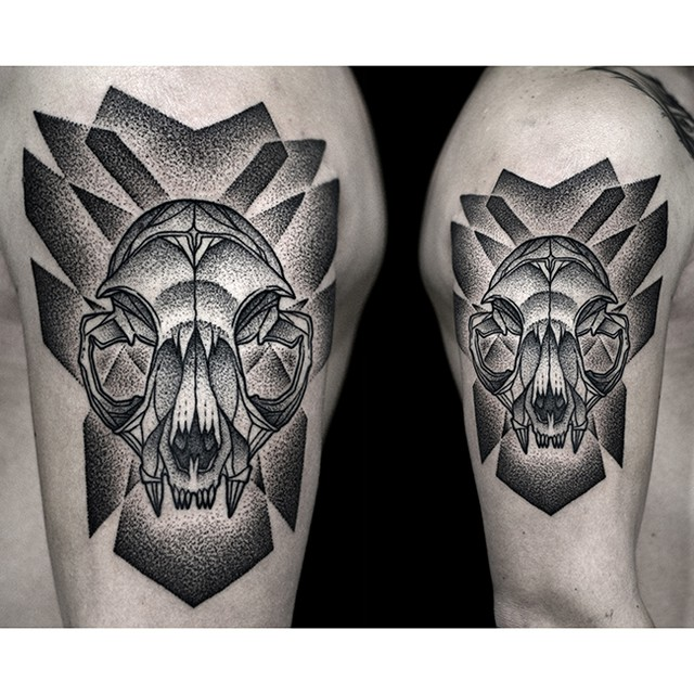 Dotwork Predator Skull Shoulder Tattoo