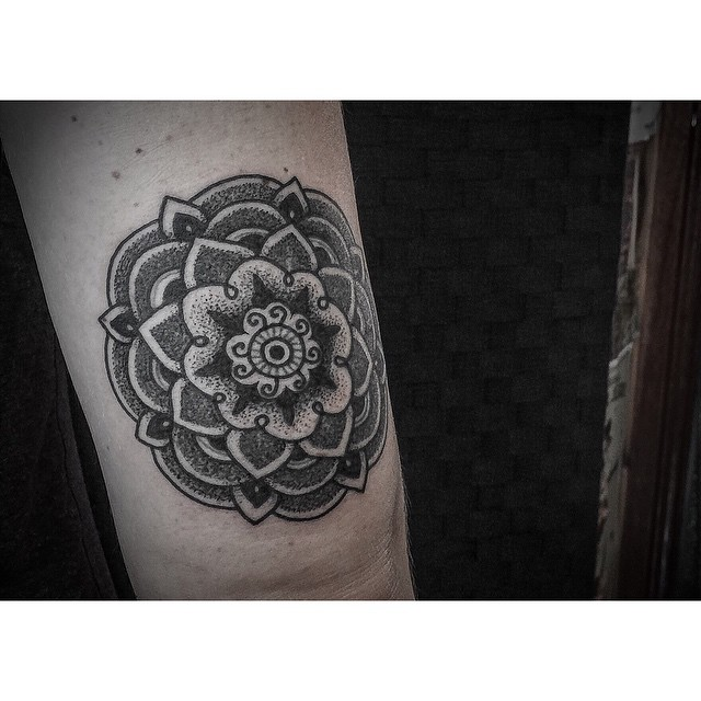 Elbow Mandala Dotwork Tattoo