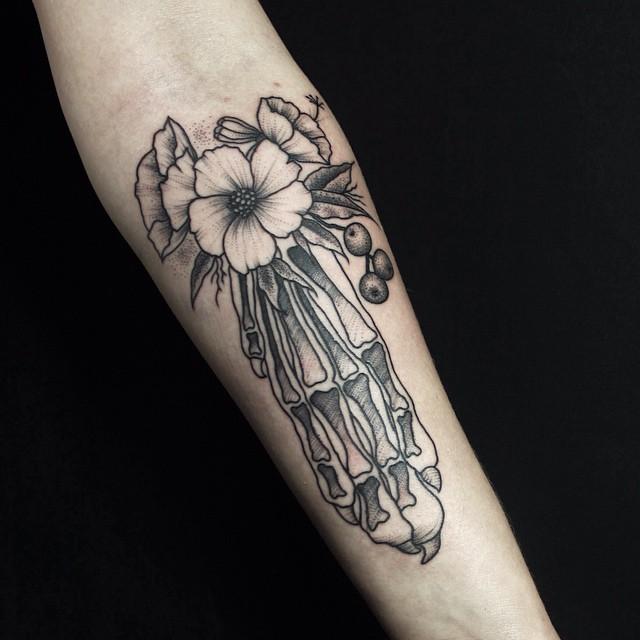 Flower Foot Bones Tattoo on Arm