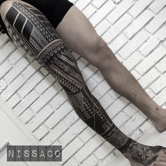 Full Maori Leg Tattoo