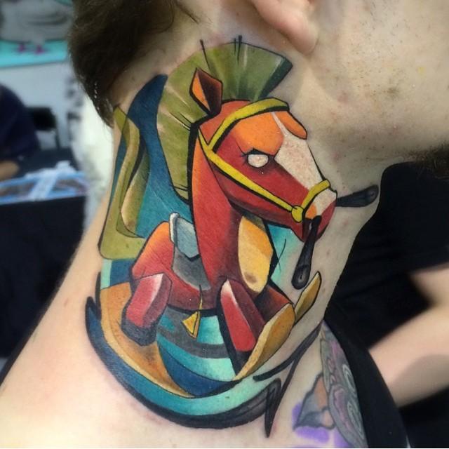 Funny Horse Neck Tattoo