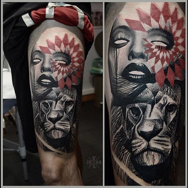 Girl Lion Trash Polka Tattoo on Thigh