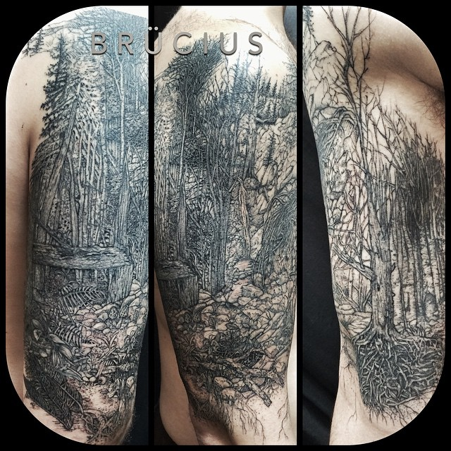 Graphic Dark Forest Shoulder Tattoo