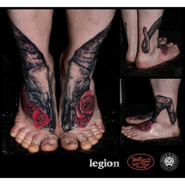 Horns and Skull Both Feet tattoo