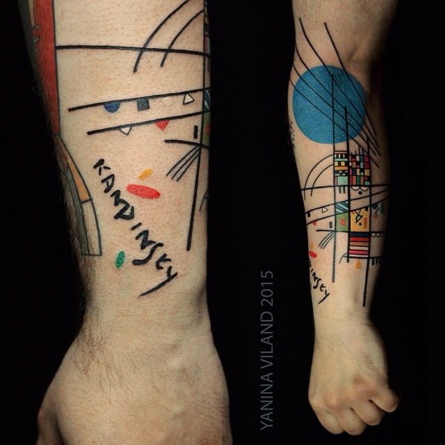Kandinsky Colorful Abstraction Arm Tattoo