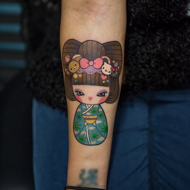 Kawaii Geisha Tattoo on Arm