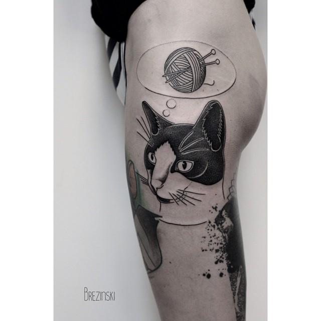 Kneet Ball Desire Cat Tattoo