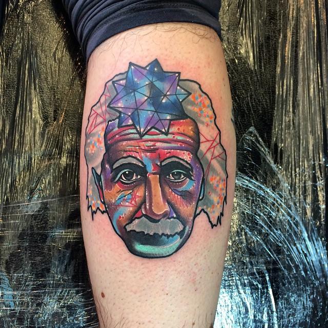 Leg Space Einstein Tattoo