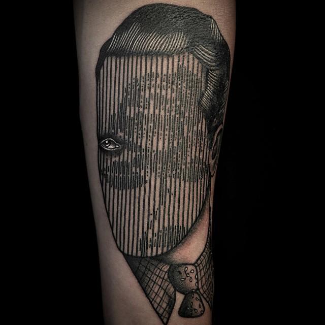 Line Face Rose Tattoo
