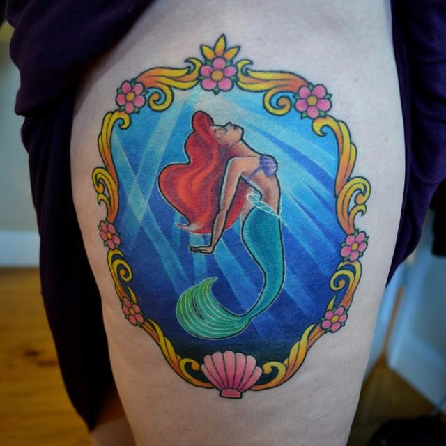 Little Mermaid Tattoo on Hip
