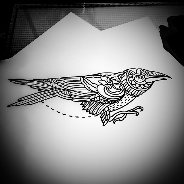 Mehendi Crow Tattoo Idea