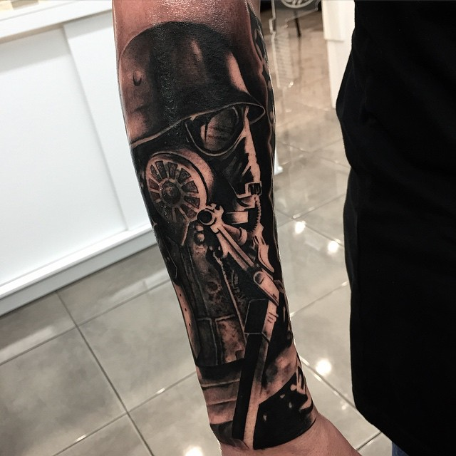 Nazi Gas Mask Arm Tattoo