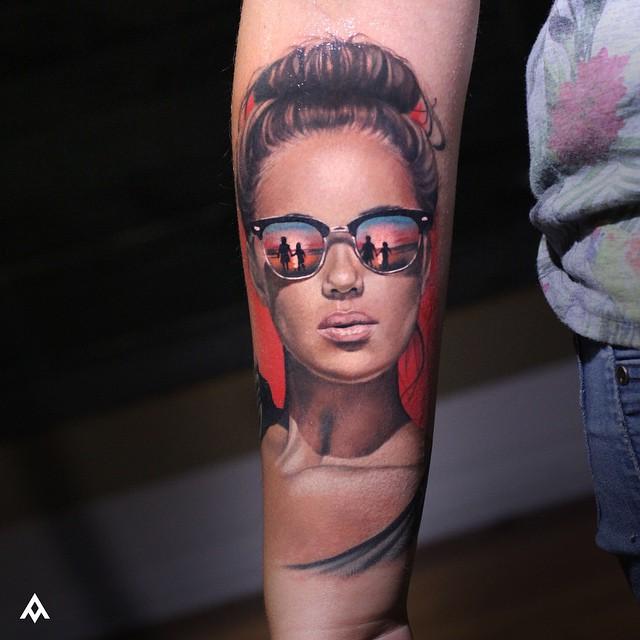 Reflection in Sunglasses Girl Tattoo
