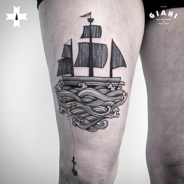 Sail Away Ship Tattoo