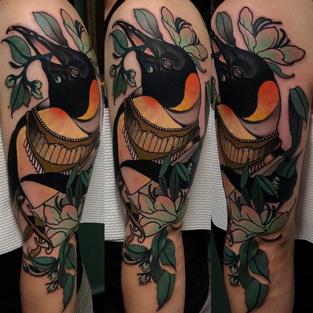 Shoulder Bird Baroque tattoo