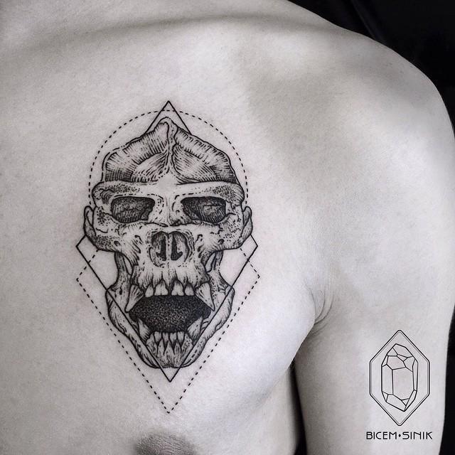 Skull of Demon Chest Tattoo