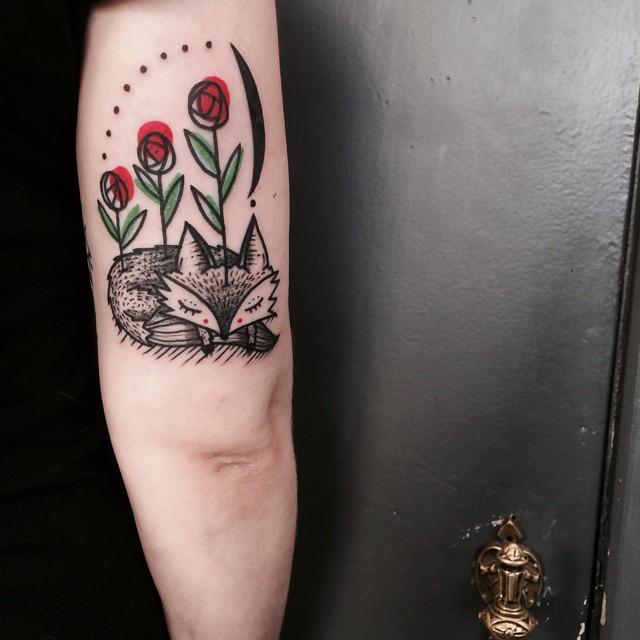 Sleeping Fox Roses Tattoo on Arm