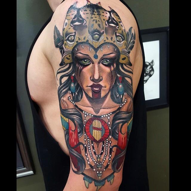 Shoulder Puma Girl Shaman Tattoo