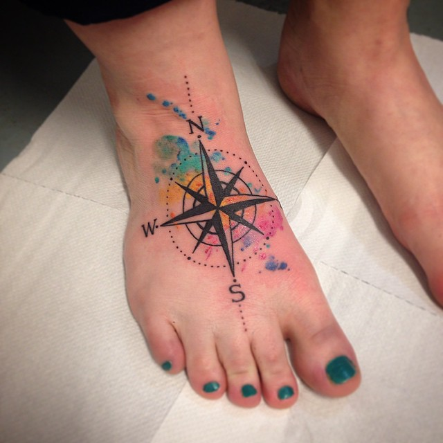 Watercolor Compass Foot Tattoo