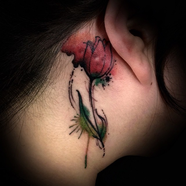 Watercolor Tulip Tattoo Behind Ear